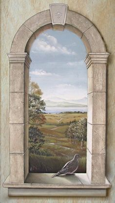 Arched Window with Dove | The trompe l'oeil window was paint… | Flickr
