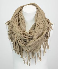 Boho Chic Crochet Lace Fringe Infinity Scarf in Mocha Cute Scarfs, Cool Style, My Style, Classic Chic, How To Wear Scarves, Autumn Winter Fashion, Fall Fashion, Crochet Scarves, Neck Warmer