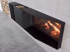 Wood-burning Boiler fireplace SKEMA by Antonio Lupi Design