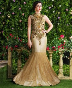 Buy Lovely Beige & Gold Party Wear Gown online at  https://www.a1designerwear.com/lovely-beige-gold-party-wear-gown  Price: $78.50 USD