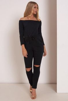cdd07790a9b Off Shoulder Fashion Long Sleeve Rip Knee All In One Ladies Casual Jumpsuits