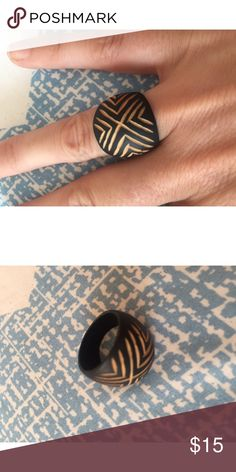 Gorgeous goddess wood etched chevron ring Handmade wood carved ring with chevron etched design. Lightweight bohemian ring. Approximately size 6/7 handmade Jewelry Rings