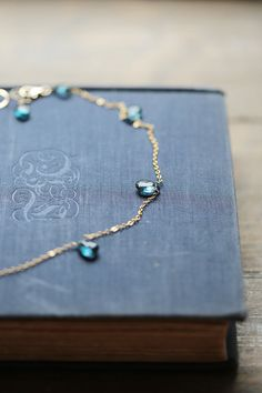 London Blue Topaz Necklace, Gold and Blue Jewelry, Blue Topaz Chain Necklace, Grey-Blue Stone Necklace