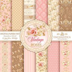 "Impresionante 12/"" X 12/"" X 10 brillante Scrapbooking Papeles Rosas Rosa//Turquesa"