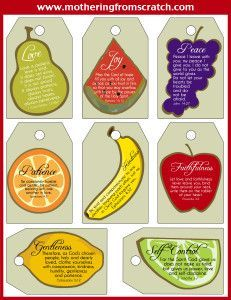 FREE Fruit of the Spirit Printable! Use these Fruit of the Spirit Scripture cards as gift tags, index cards for your mirror or bookmarks. Or, you can use them with your kids to help them memorize Bible verses!