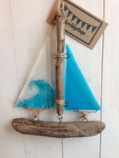Fused glass and driftwood boat - 'Wave' £22.00