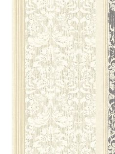 Three distinct, but related, patterns are vertically aligned on this unique wallcovering. There are narrow stripes in contrasting colors, damask print on muted stripes, and an overlay like running watercolor. The end result is strikingly unusual and available in neutral color combinations.