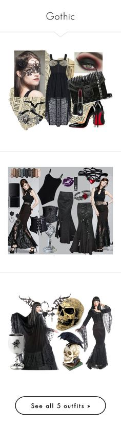 """""""Gothic"""" by tamara-sucha ❤ liked on Polyvore featuring Christian Louboutin, Philipp Plein, NARS Cosmetics, Baguette....., Urban Decay, Manic Panic, Hell Bunny and C Label"""