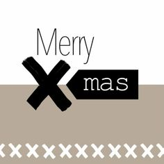 Hippe kerstkaart in zwart wit en taupe met tekst: Merry X-mas.