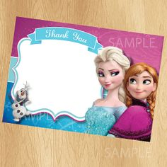Frozen Thank You Card - INSTANT DOWNLOAD Printable Disney Frozen Thank You Card - Frozen Thank You Note matches Birthday Party Invitation
