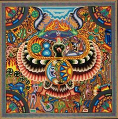 """ymutate: """" Huichol yarn painting: Circa 1999 x The Huichol people (who refer to themselves as Wixáritari """"the people"""") live in the Sierra Madre Occidental range in the Mexican states of. South American Art, Native American Art, Yarn Painting, Painting & Drawing, Arte Popular, Indigenous Art, Visionary Art, Mexican Folk Art, Outsider Art"""