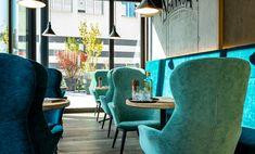 Restaurant - Bar - Scanaua - Schaan, Lounge, Cafe&Bar, Blautöne, Grafiti, Betonwand, Eichenboden, Skandinavisches Design aus Österreich - Traun- id Werkstatt