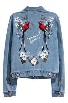 H&M Denim jack jasje spijkerjas met borduursel - Denimblauw - DAMES | H&M NL denim jacket with bird and flower print