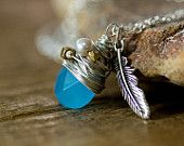 Sea Blue Chalcedony Necklace with Wire Wrap Cluster and Silver Feather