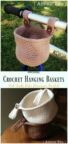 Crochet Kids Bike Hanging Basket Free Pattern- Hanging #Basket; Free #Crochet; Patterns