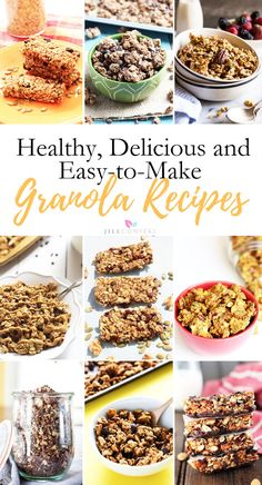 Granola just tastes better homemade and it's healthier too. Browse 30+ granola recipes and find healthy, delicious and easy-to-make ideas for breakfast and snacks. Click through to pick your favorite. Pin it now, make more granola later. @jillconyers