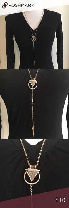 Francesca's Collections Geometric Triangle Long necklace in an antiques gold color from Francesca's Collections. Only worn a couple of times. Lots of great triangle shapes. Unique but not overwhelming. Reminds me of the Harry Potter deathly gallows sign. :) Francesca's Collections Jewelry Necklaces