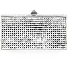 Judith Leiber Perfect Rectangle Studded Convertible Clutch ($1,500) ❤ liked on Polyvore featuring bags, handbags, clutches, white handbag, white clutches, judith leiber clutches, structured handbags and judith leiber handbags