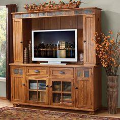 Sunny Designs Sedona 72 in. TV Console with Hutch - K3322RO, Durable