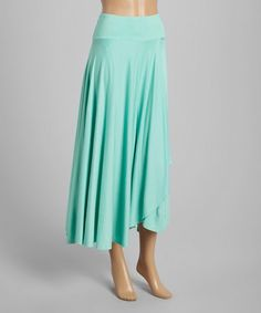 Look at this Mint Green Wrap Maxi Skirt on #zulily today!