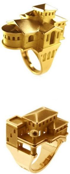 Gold architecture rings.