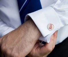 Order Baseball Cufflinks for your Groomsmen - www.SportsThemedWeddings.com  #stwdotcom  #baseballwedding