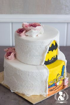 Vintage wedding cake batman groom cake
