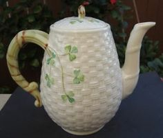 "Belleek Shamrock Basketweave Coffee Pot / Teapot 11th Mark 7"" Tall"
