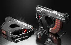 POTD: The AEROMECH APS-F1 Handgun System Concept -The Firearm Blog Sci Fi Weapons, Weapon Concept Art, Fantasy Weapons, Weapons Guns, Airsoft Guns, Zombie Weapons, Future Weapons, Cool Guns, Firearms