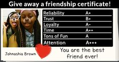 Give away a friendship certificate!