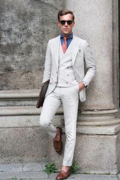 Suit Supply suit; Finamore shirt; Hermes Tie; Church's Keats.  Source: thethreef.com - Cream Suit