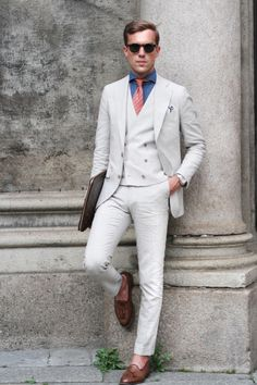 Suit Supply suit; Finamore shirt; Hermes Tie; Church's Keats.  Source: thethreef.com - Cream Suit