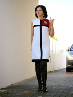 My interpretation of the Mondrian dress by YSL, using V9042 as the base pattern