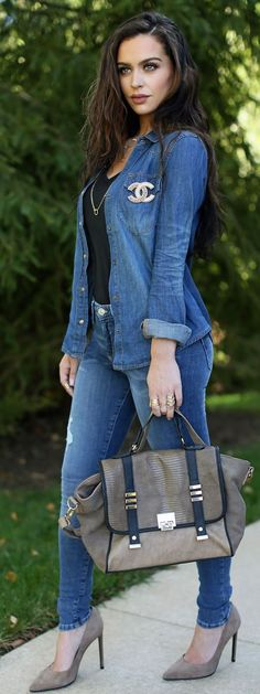 Total Denim And Taupe Streetstyle