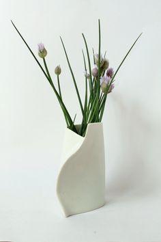 White Porcelain Vase  Sculptural Hand Built One by taylorceramics, $54.00