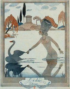 Hoodoo That Voodoo, George Barbier 'Leda' 1924 Art Deco Illustration, Character Illustration, Vintage Artwork, Vintage Posters, Art Nouveau, Inspiration Art, French Art, Art Design, Art Deco Fashion