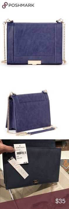 """NEW blue purse Gorgeous and BRAND NEW WITH TAGS. Structured """"Ashford"""" purse with front pleated flap & detachable gold link chain strap (23-1/2"""" drop). Locking front closure with goldtone hardware. 🌺🌺🌺Measurements: 7.5"""" high X 10"""" wide X 2.5"""" thick.  Lined in animal print with sections and pockets inside. Tag says Nordstrom because Sole Society brand is a collab between Nordstrom and Vince Camuto.       🌺🌺🌺.  The color is kind of in between the pics - almost a denim or grayish blue…"""