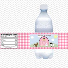 Barn Yard Farm Animals Pink Gingham- Personalized water bottle labels - Set of 5  Waterproof labels by sharenmoments on Etsy https://www.etsy.com/transaction/1013831024
