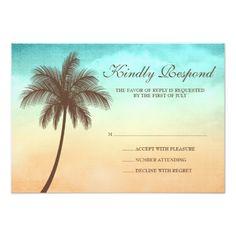 Tropical Beach Palm Tree Wedding Response Card