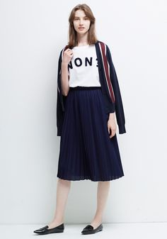 Le Ciel Bleu Intersia Striped Cardigan, NON? Tee and Knit Pleated Skirt