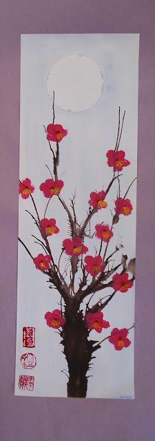 a faithful attempt: Cherry Blossom Paintings using the blow paint through a straw method  K-12 art teacher's blog