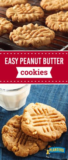 Easy Peanut Butter Cookies – A simple cookie recipe filled with tasty peanut butter flavor? Five ingredients, 25 minutes, and no flour to measure means that this dessert idea is sure to be a favorite amongst your annual holiday cookie exchange Easy Peanut Butter Cookies, Buttery Cookies, Peanut Butter Recipes, Yummy Cookies, Easy Cookie Recipes, Easy Desserts, Delicious Desserts, Dessert Recipes, Simple Cookie Recipe