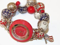 Red White and Blue Chunky Beaded Watch by BeadsnTime on Etsy