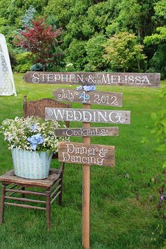 Rustic outdoor wedding decorations are scene stealers and they create awe-inspiring responses from wedding guests. Outdoor Wedding Signs, Vintage Outdoor Weddings, Outdoor Wedding Decorations, Outside Wedding, Wedding Reception, Wedding Signage, Reception Ideas, Chic Wedding, Wedding Tips