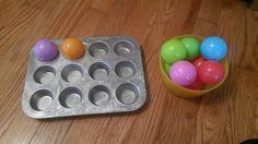 Montessori inspired: transferring balls to muffin tin 6-9 months