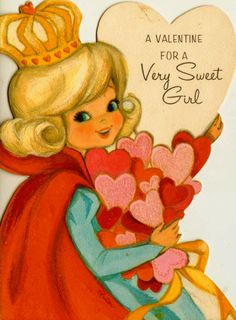 Vintage Hallmark A Valentine For A Very Sweet Girl Greetings Card