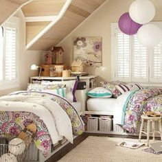 Bedroom , Small Bedroom For Two Beds : Small Bedroom For Two Beds With Paper Lanterns And Purple Pattern Bedding Sets And Underbed Storage