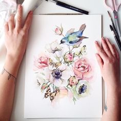 Flower art painting draw artworks 67 New ideas Illustration Inspiration, Inspiration Art, Art Floral, Botanical Illustration, Watercolor Illustration, Bird Illustration, Watercolor Flowers, Watercolor Art, Drawing Flowers