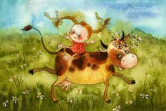 Vika Kirdiy: A girl riding a cow in pasture Cow Illustration, Illustrations, Watercolor Animals, Watercolor Art, Z Arts, Types Of Art, Medium Art, Pigeon, Book Art