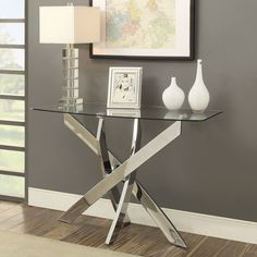 Furniture of America Propel Modern Glass Top Chrome Sofa Table | Overstock.com Shopping - The Best Deals on Coffee, Sofa & End Tables